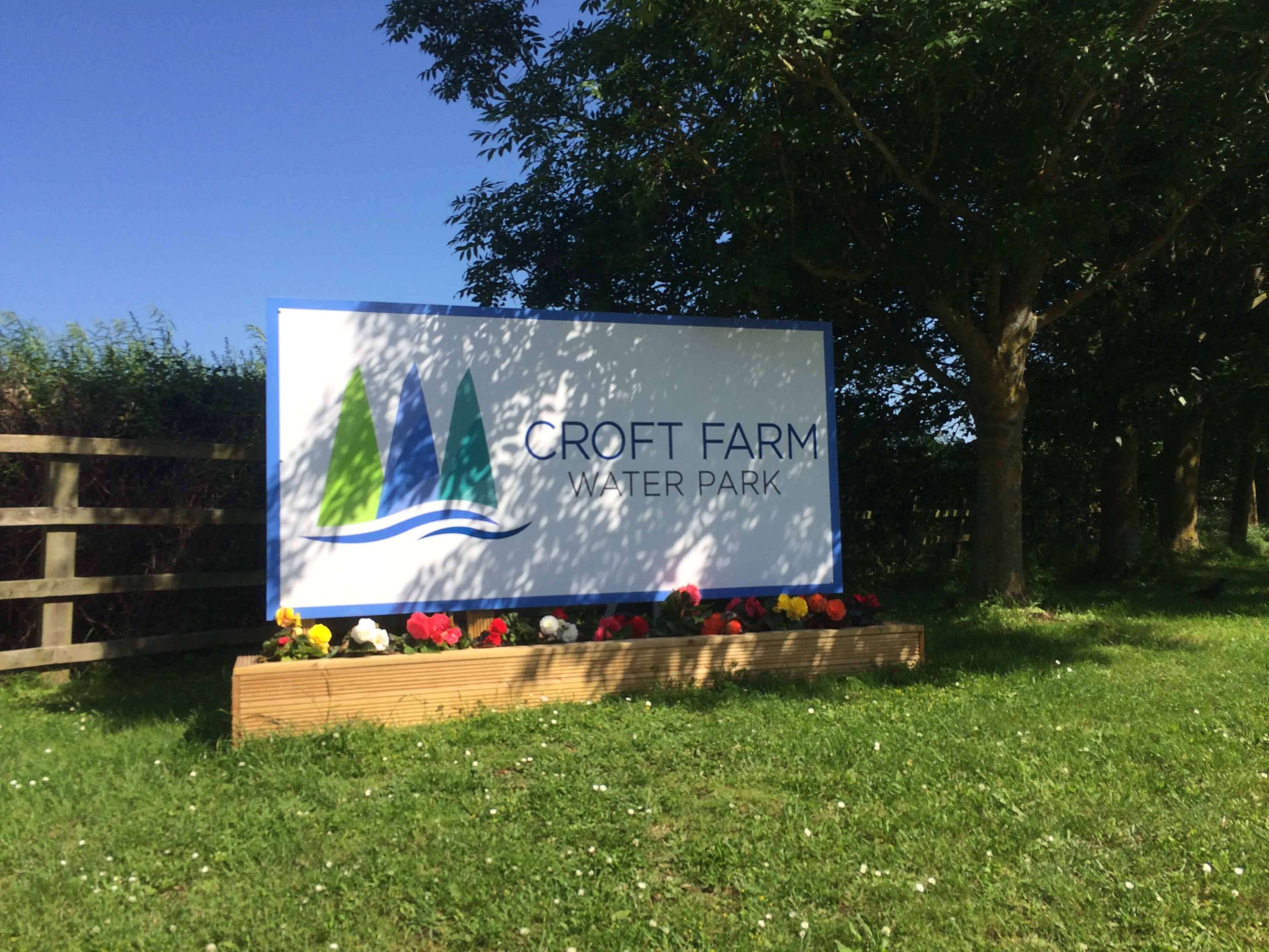 Welcome sign for Croft Farm Waterpark