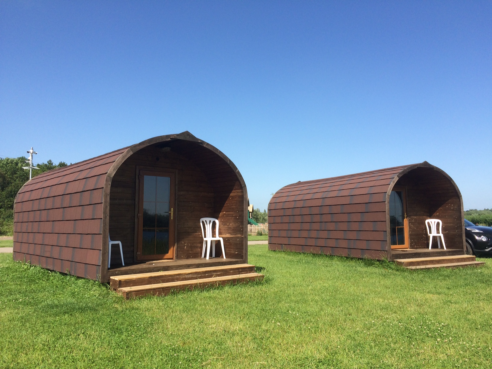 lakeside pods at Croft Farm Waterpark