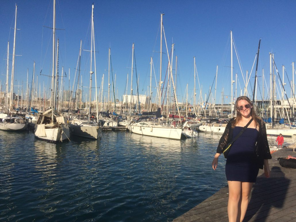 me in front of the marina in Barcelona