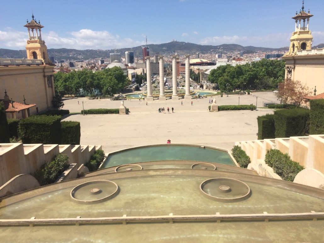 views from montjuic hill over barcelona below